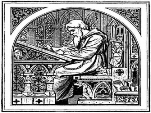 The Esoteric Alphabet. Monk at writing desk.